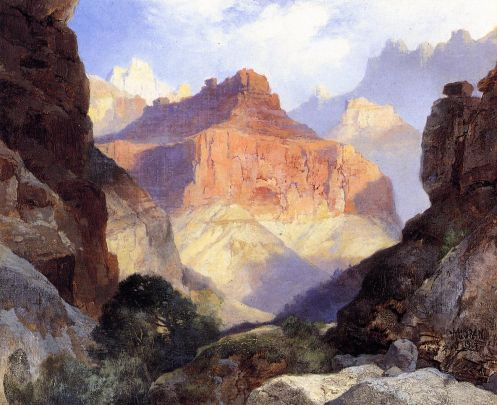Thomas-Moran-Under-The-Red-Wall-Grand-Canyon-Of-Arizona-Oil-Painting
