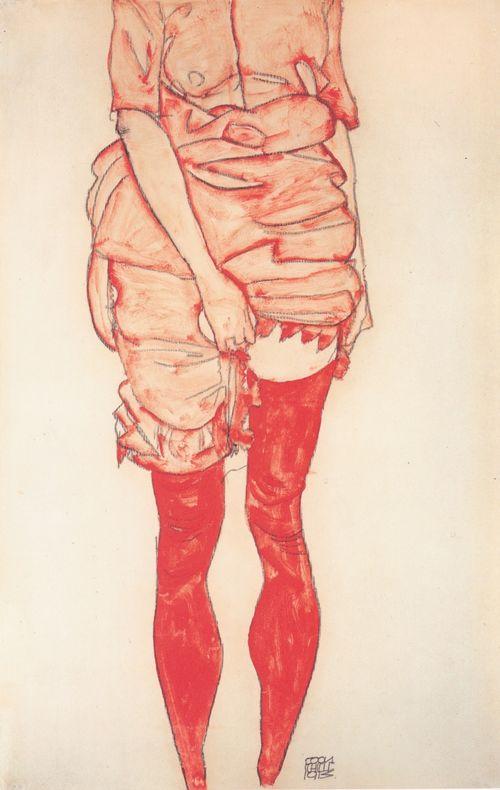 Schiele-woman-in-red