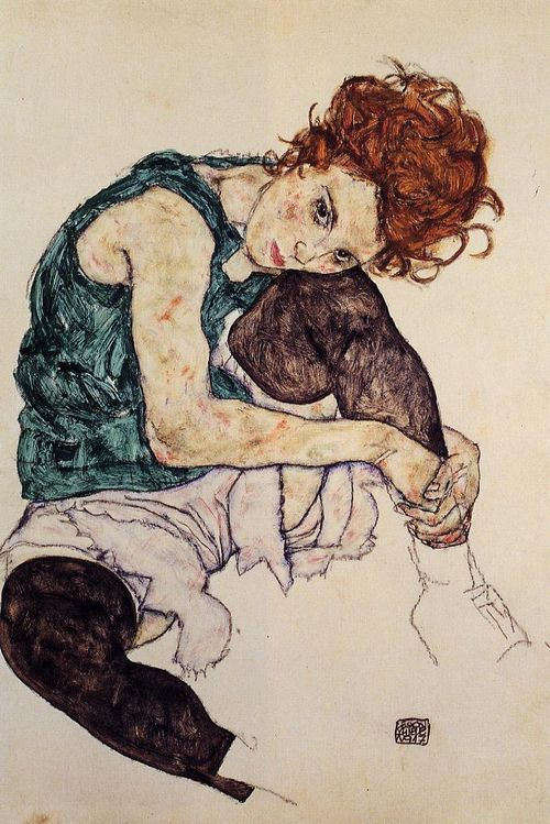 Schiele-seated-woman-green