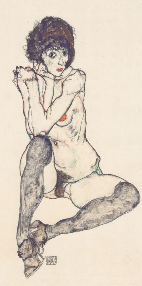 Schiele-seated-nude