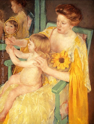 Cassatt-mother-Wearing-A-Sunflower-On-Her-Dress