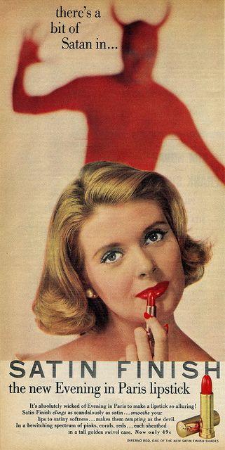 Satin Finish Evening in Paris lipstick ad,1957