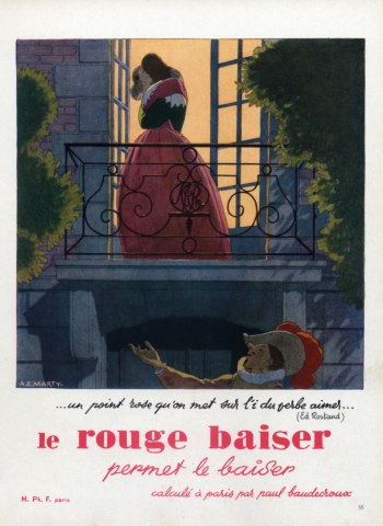 1947 Rouge Baiser ad by André Edouard Marty