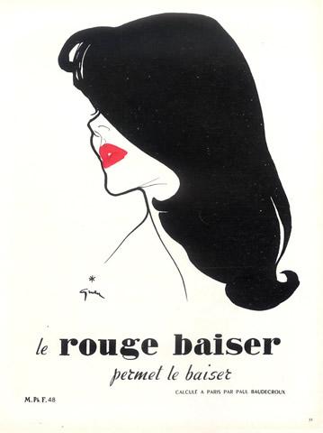 1949 Rouge Baiser ad by Rene Gruau