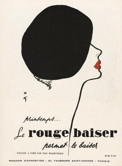1950 Rouge Baiser ad by Rene Gruau