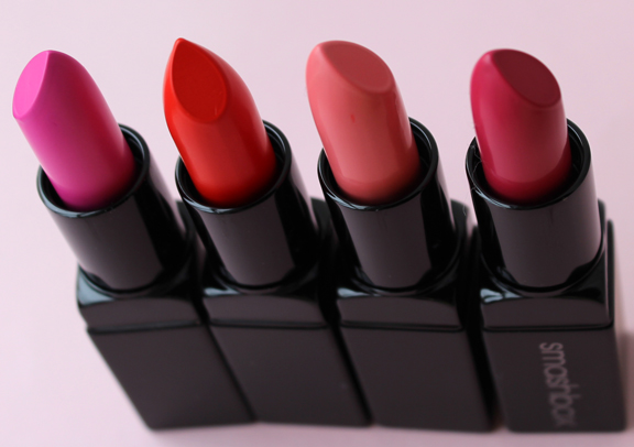 Donald Robertson for Smashbox lipsticks: Magenta, Fireball, Paris Pink, Punch Drunk