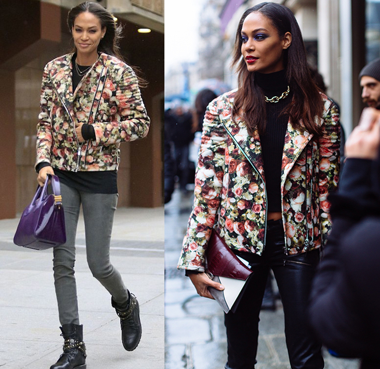 Joan Smalls - Givenchy rose moto jacket