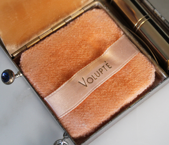 Volupté silver tone clutch - powder puff
