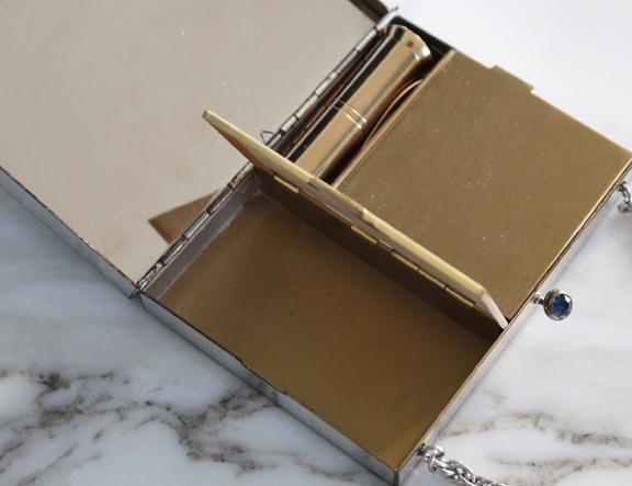 Volupté silver tone clutch - compartment