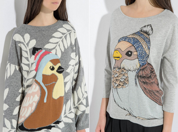 Paul & Joe fall 2015 bird sweaters
