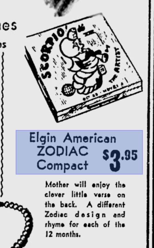 Elgin American Zodiac compact ad - Scorpio
