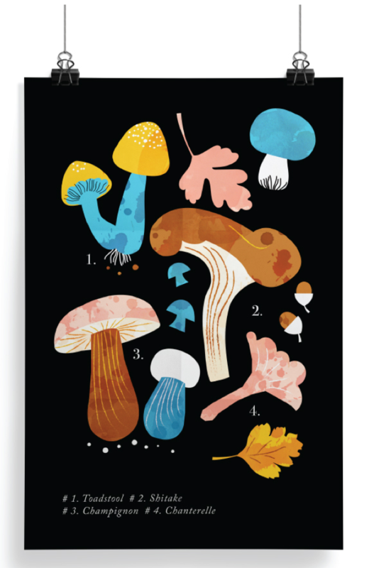 Darling Clementine mushroom print