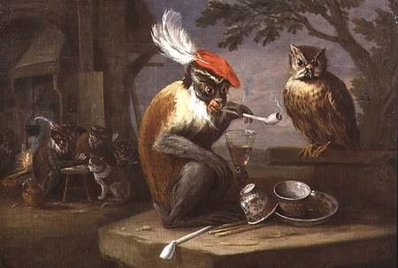 A Monkey Smoking and Drinking with an Owl by Ferdinand Van Kessel, 17th century