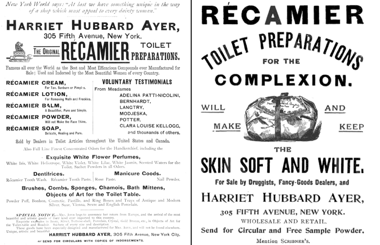 Ayer Récamier ads, 1891 and 1893