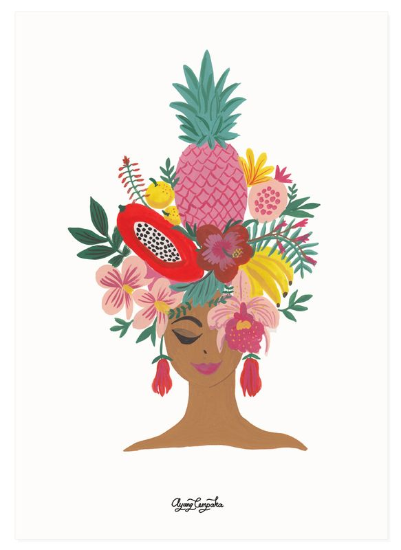 Ayang Cempaka tropical girl print
