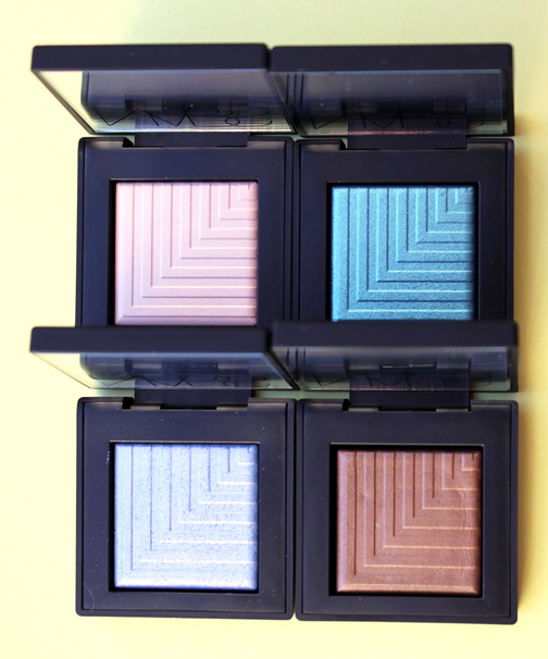 Clockwise from top left: NARS Topless, Deep End, Tan Lines and Pool Shark eye shadows