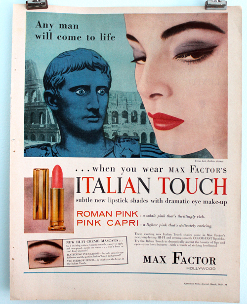 Max Factor Italian Touch ad, 1957
