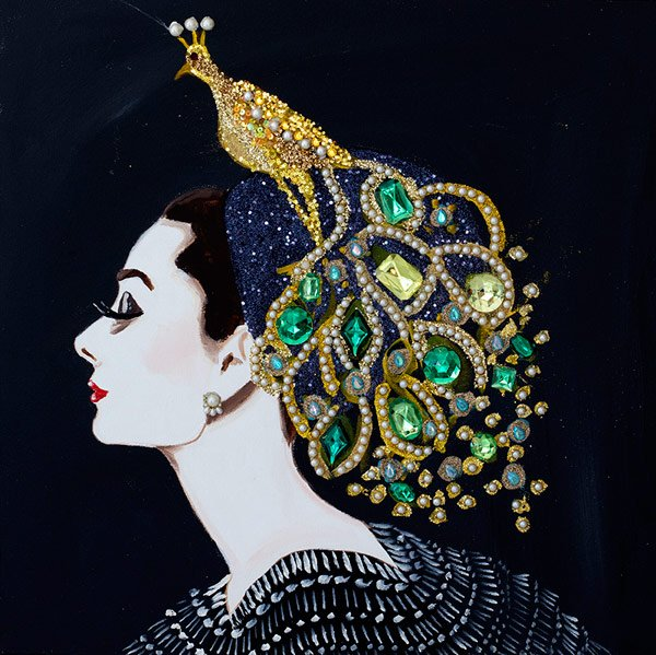 Ashley Longshore, Audrey With Art Nouveau Golden Peacock