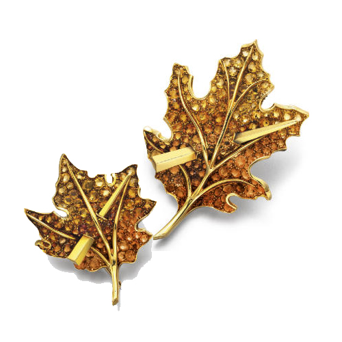 Paul Flato leaves brooch