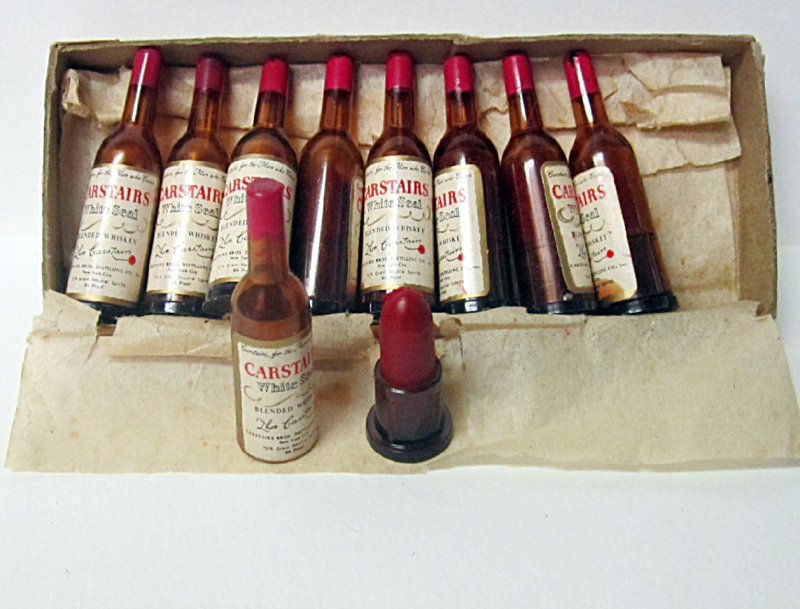 Vintage Carstairs whiskey lipstick set