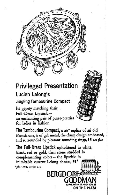 Lucien Lelong Tambourine compact ad, September 1948