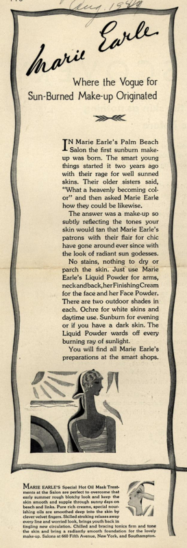 Marie Earle ad, 1929