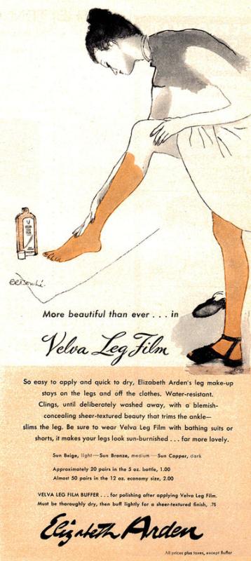 Ad for Elizabeth Arden Velva Leg Film, 1946