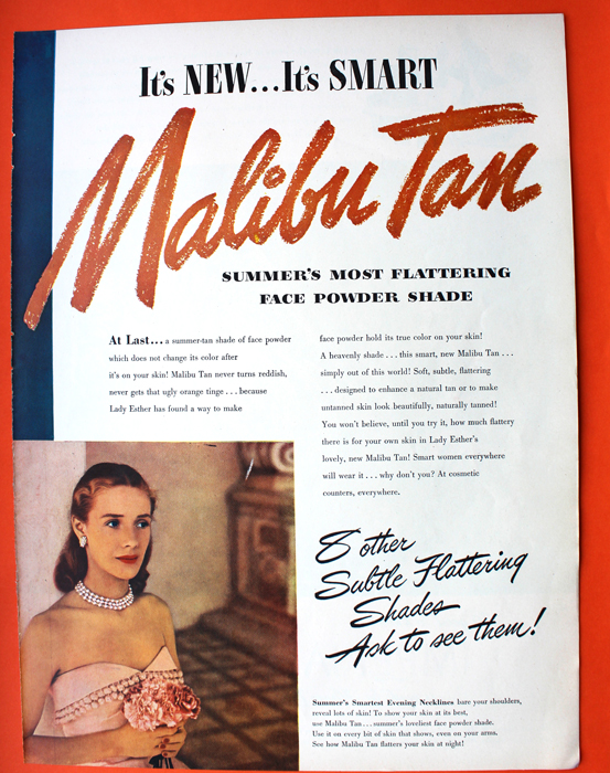 Ad for Lady Esther Malibu Tan face powder, 1947
