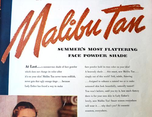 Ad for Lady Esther Malibu Tan face powder, 1947