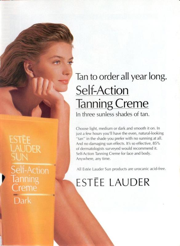 Estée Lauder self-tanner ad, 1991