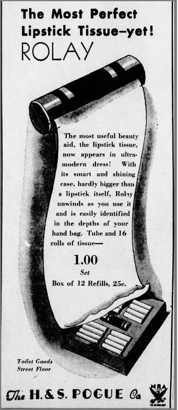 October 1933 ad for Rolay lipstick tissues