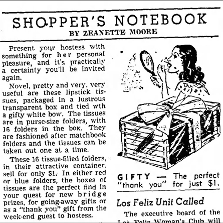 Lipstick tissue gift suggestion, 1946