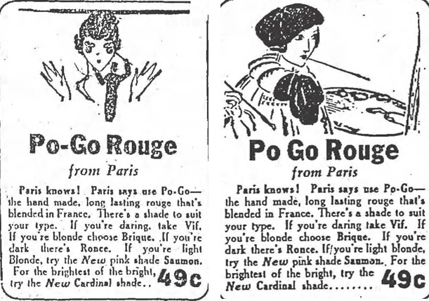 Po-Go Rouge ads, 1930