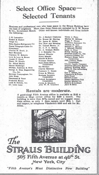 Straus building ad, April 1922