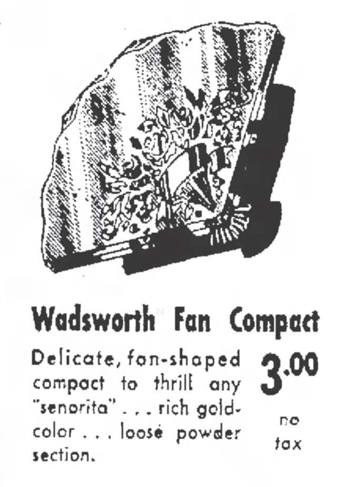 Wadsworth fan compact ad, December 1948