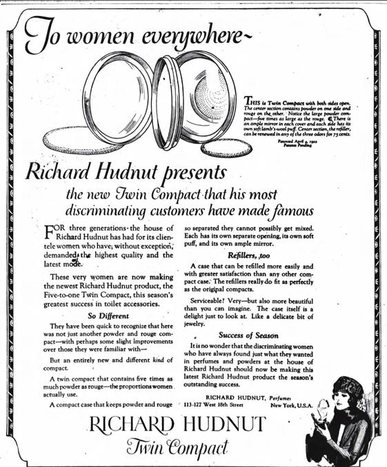 Richard Hudnut twin compact ad, October 1922