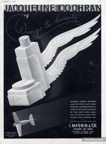 Jacqueline Cochran makeup ad, 1939