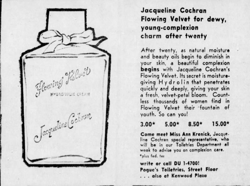 Jacqueline Cochran Flowing Velvet ad, 1960