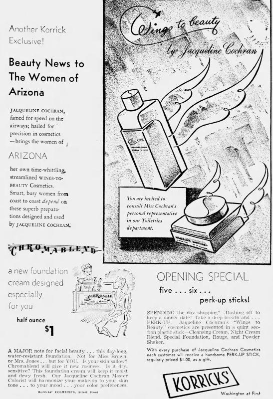 Jacqueline Cochran cosmetics ad, 1940