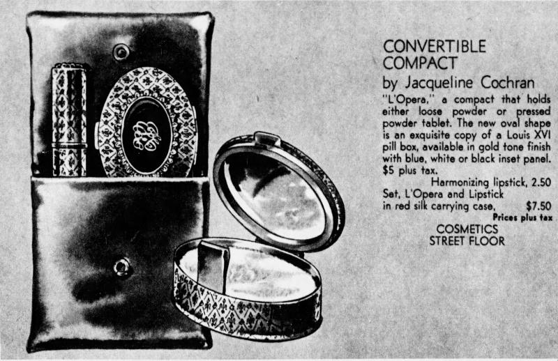 Jacqueline Cochran L'Opera compacts ad, 1961