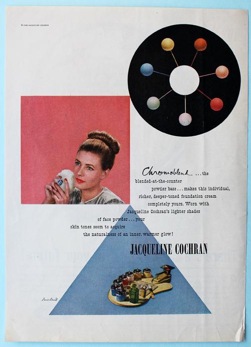 Jacqueline Cochran ad designed by Paul Rand, 1945