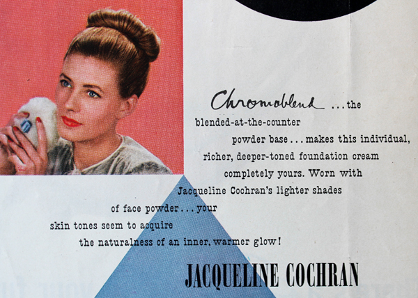 Jacqueline Cochran cosmetics ad designed by Paul Rand, 1945