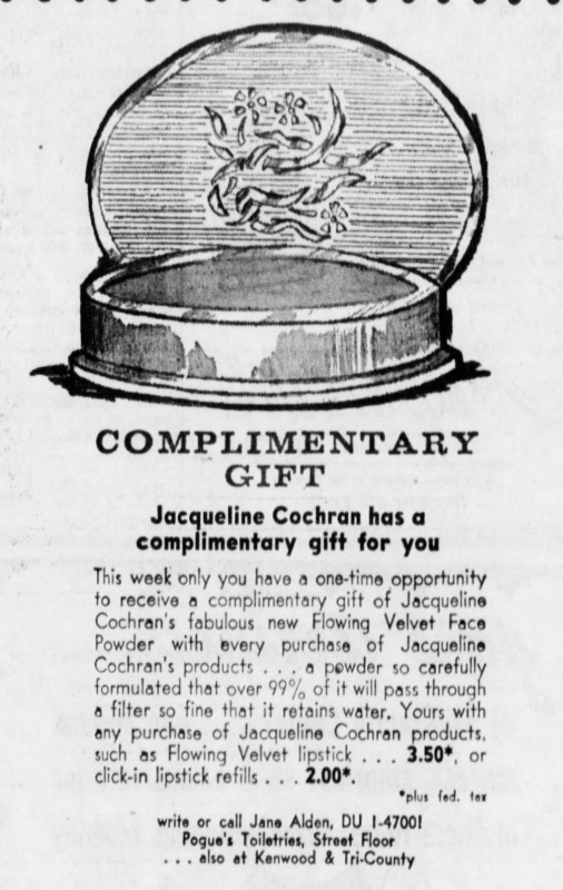 Jacqueline Cochran Flowing Velvet powder ad, 1960
