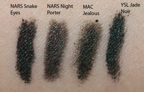 NARS Snake Eyes comparison swatches