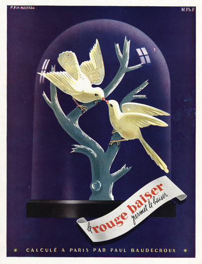 1947 Rouge Baiser ad by Pierre Fix-Masseau
