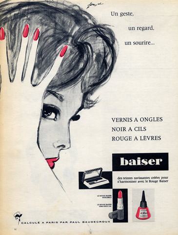 1960 Rouge Baiser ad by Pierre Couronne