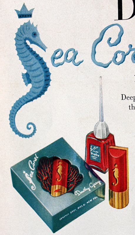 Dorothy Gray Sea Coral ad seahorse detail