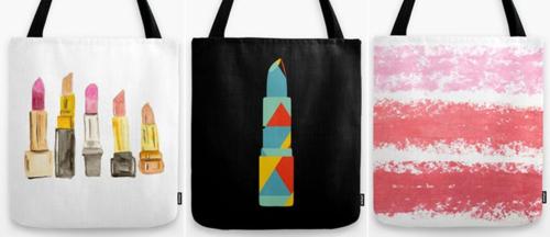Lipstick tote bags via Society 6