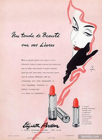 Elizabeth Arden ad by Rene Gruau, 1955