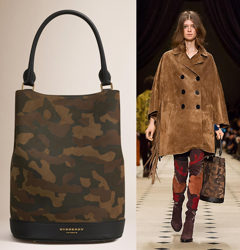 Burberry fall 2015 camo bucket bag